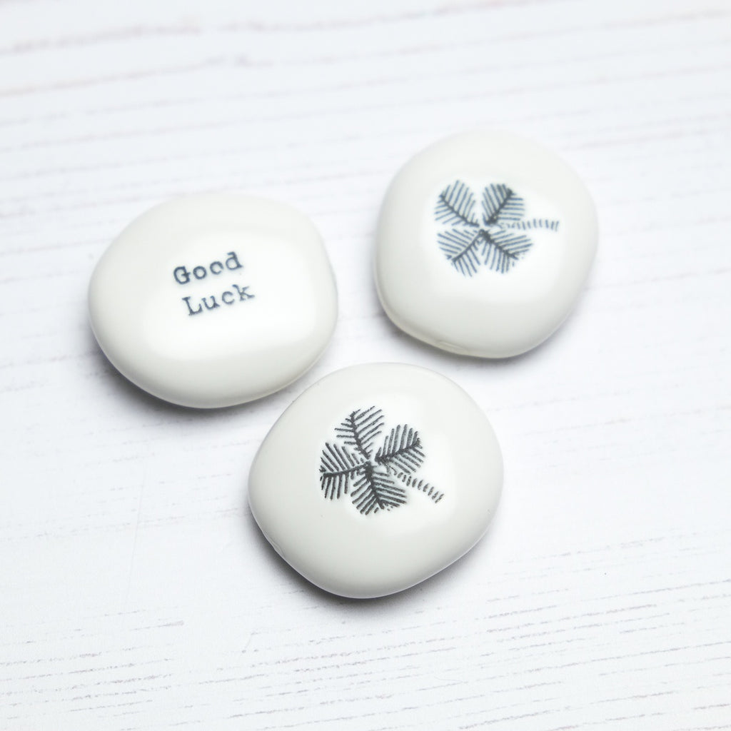'Good Luck' Porcelain Pebble - SugarMango