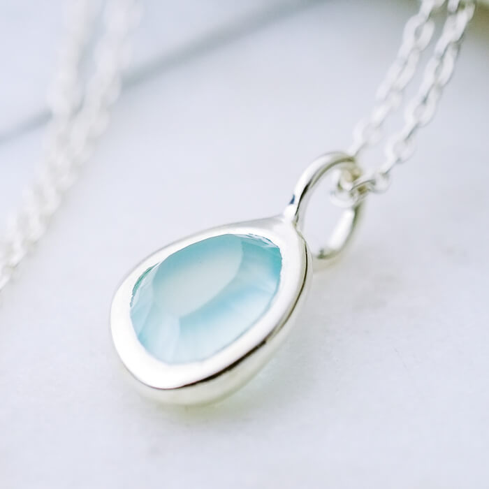 Delicate gemstone necklace aqua chalcedony