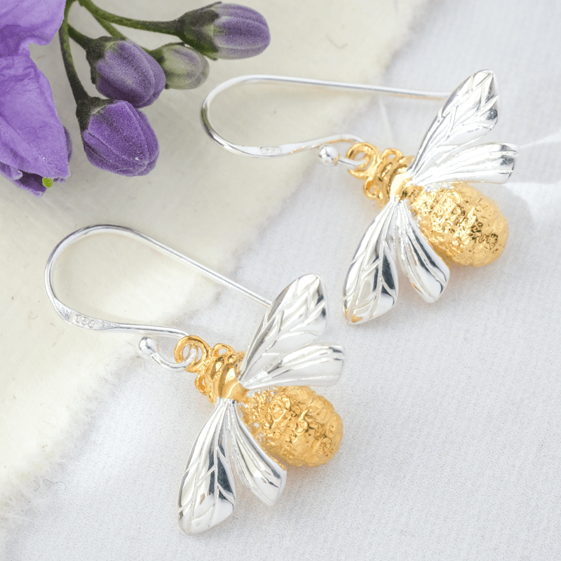 bee earrings silver and gold
