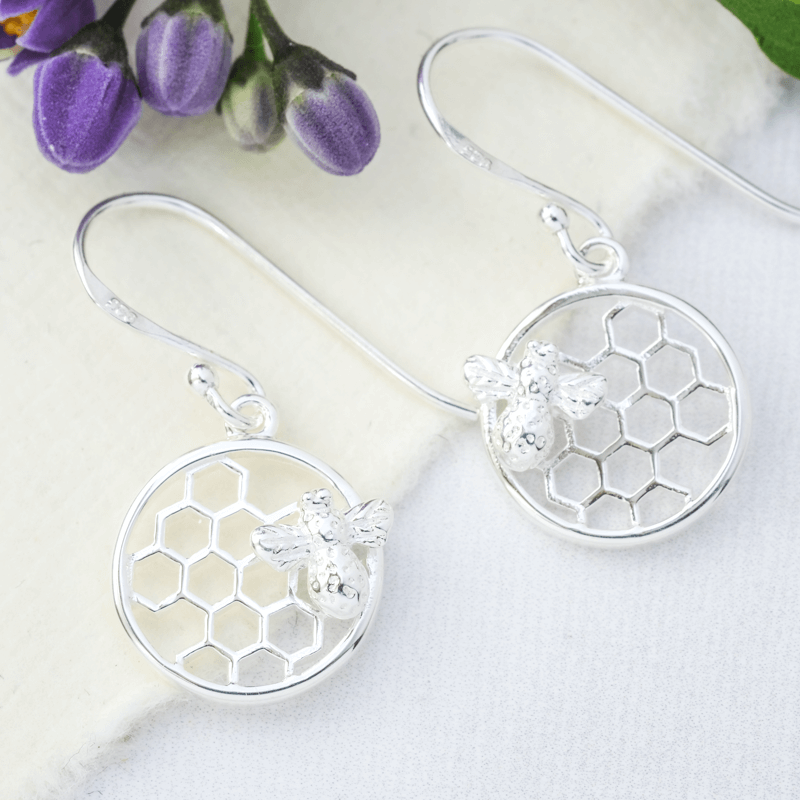 honeycomb earrings silver