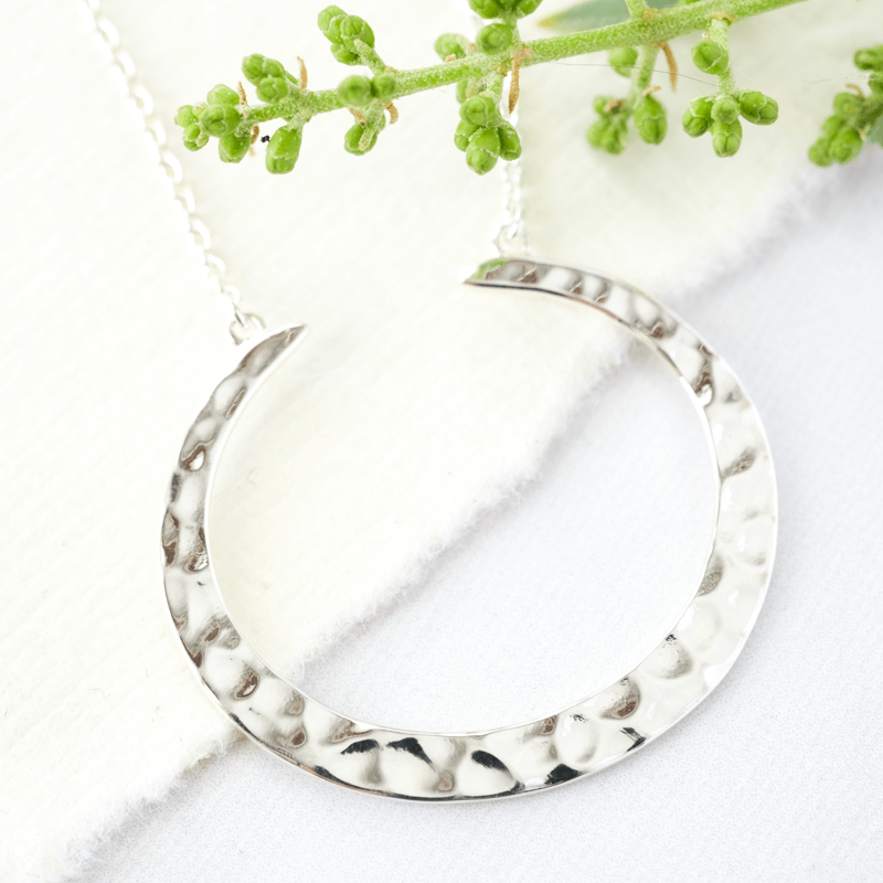 silver necklace crescent shape