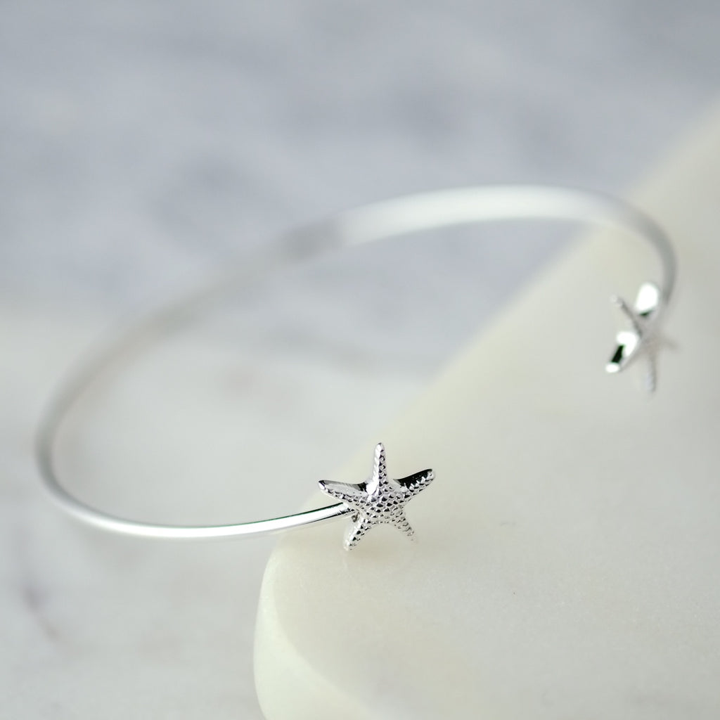 Star Fish Silver Bangle - SugarMango