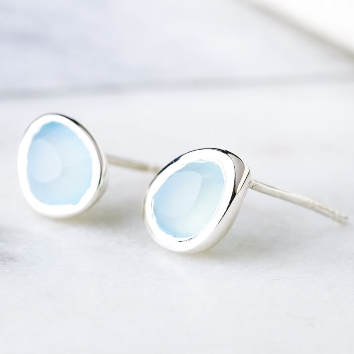 Aqua Chalcedony Pebble Studs - SugarMango