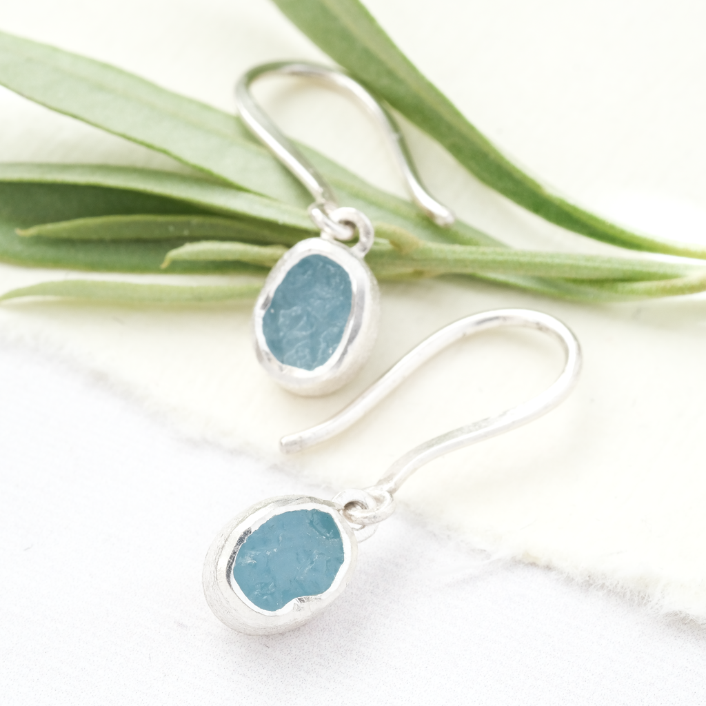 aquamarine raw stone drop earrings silver