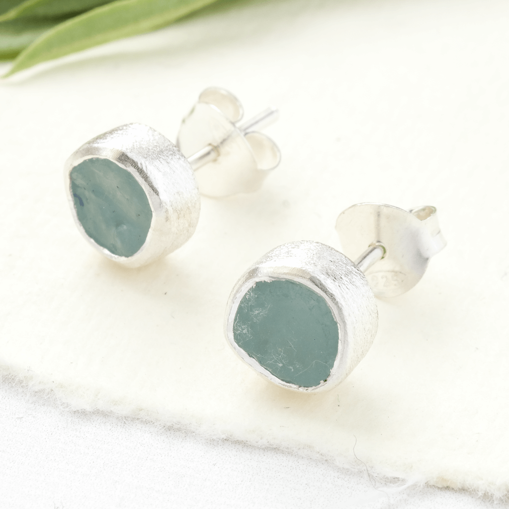 raw stone earrings aquamarine