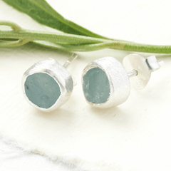raw gemstone earrings aquamarine