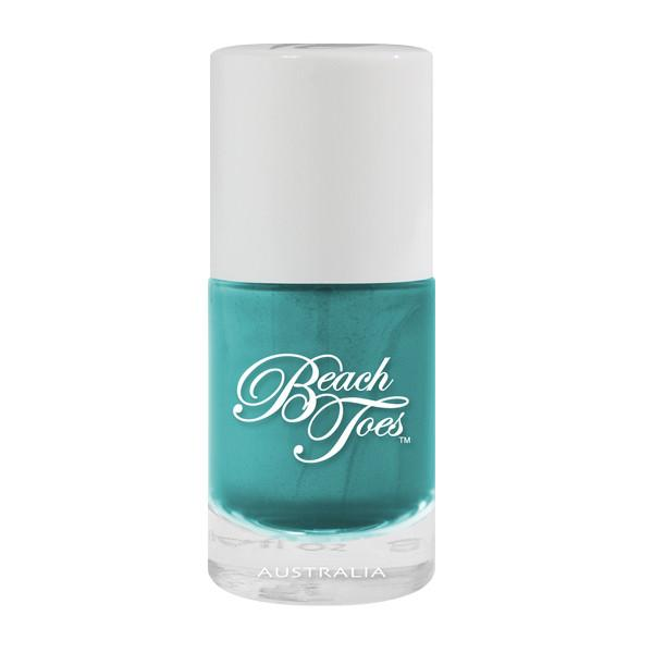 beach toes metallic turquoise nail varnish island reef