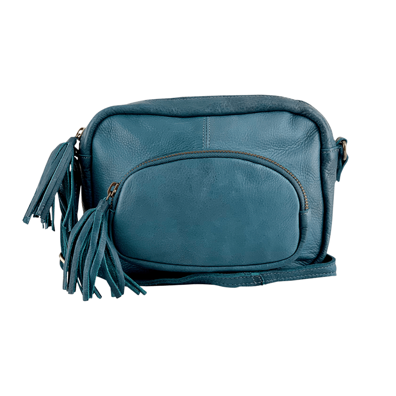 crossbody bag in soft blue leather Black Colour Elvira Bag