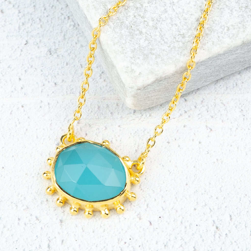 Blue Chalcedony gemstone necklace gold