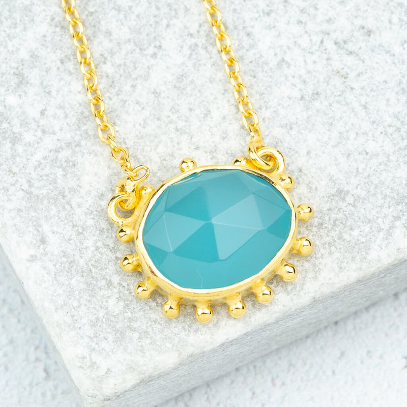 blue gemstone necklace gold