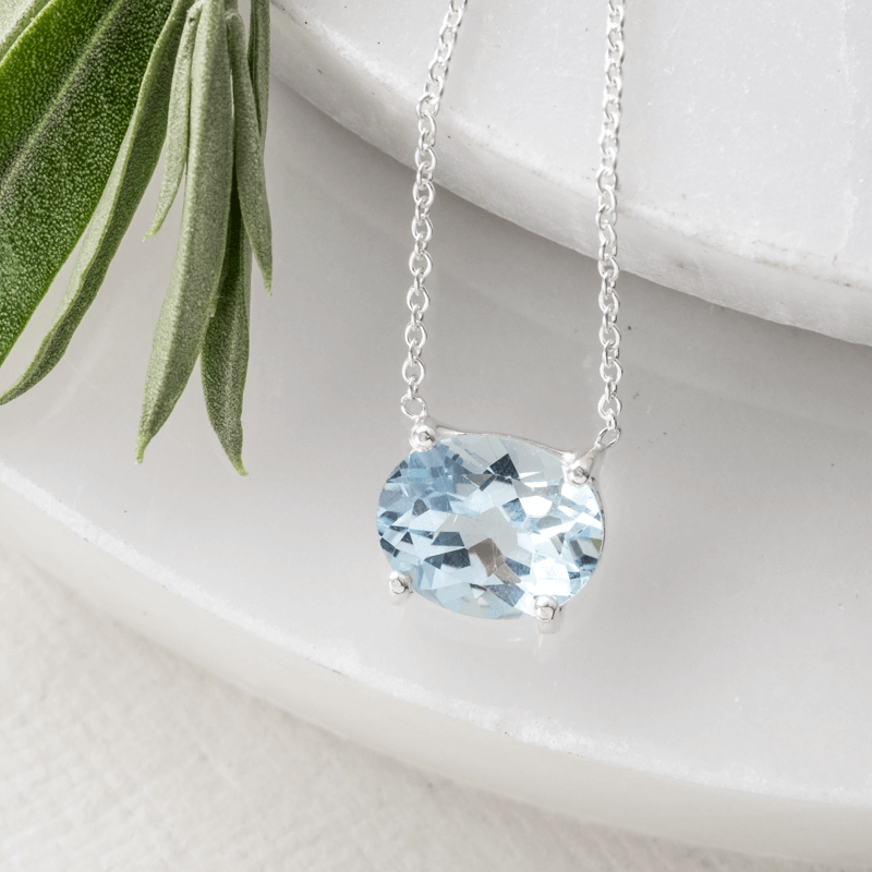 Blue Topaz Oval cut stone necklace silver