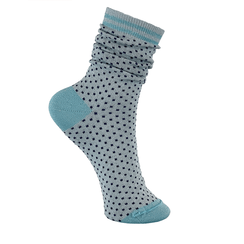 black colour dot glitter socks blue