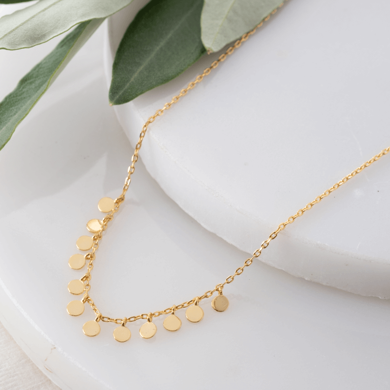 gold dot layering necklace