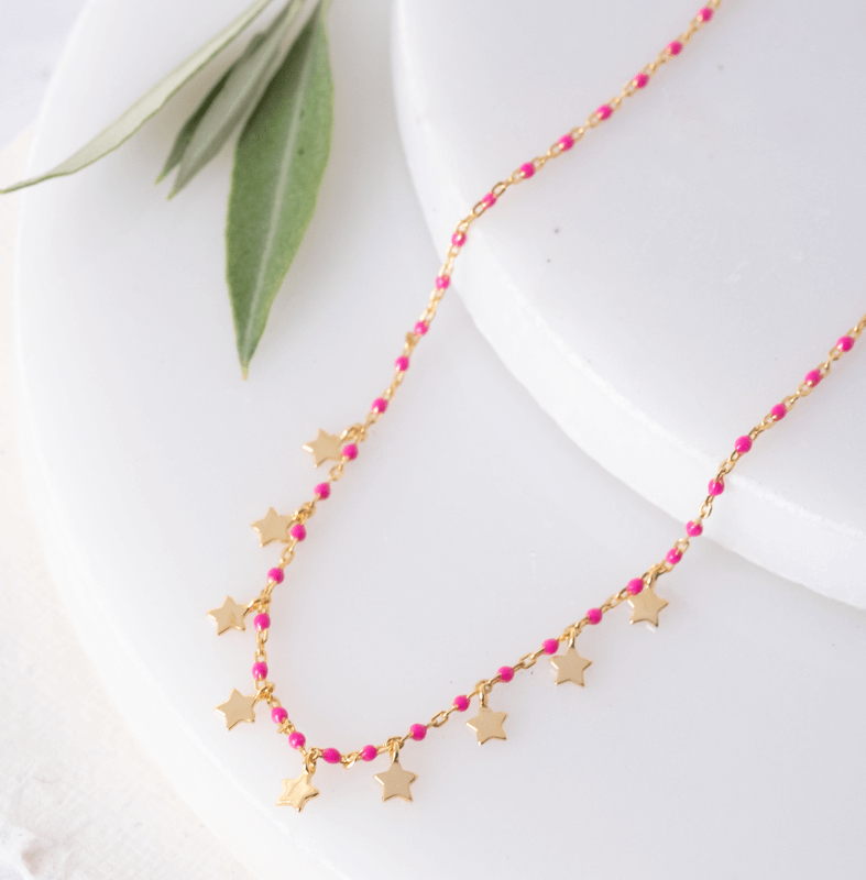 gold star necklace with pink beads