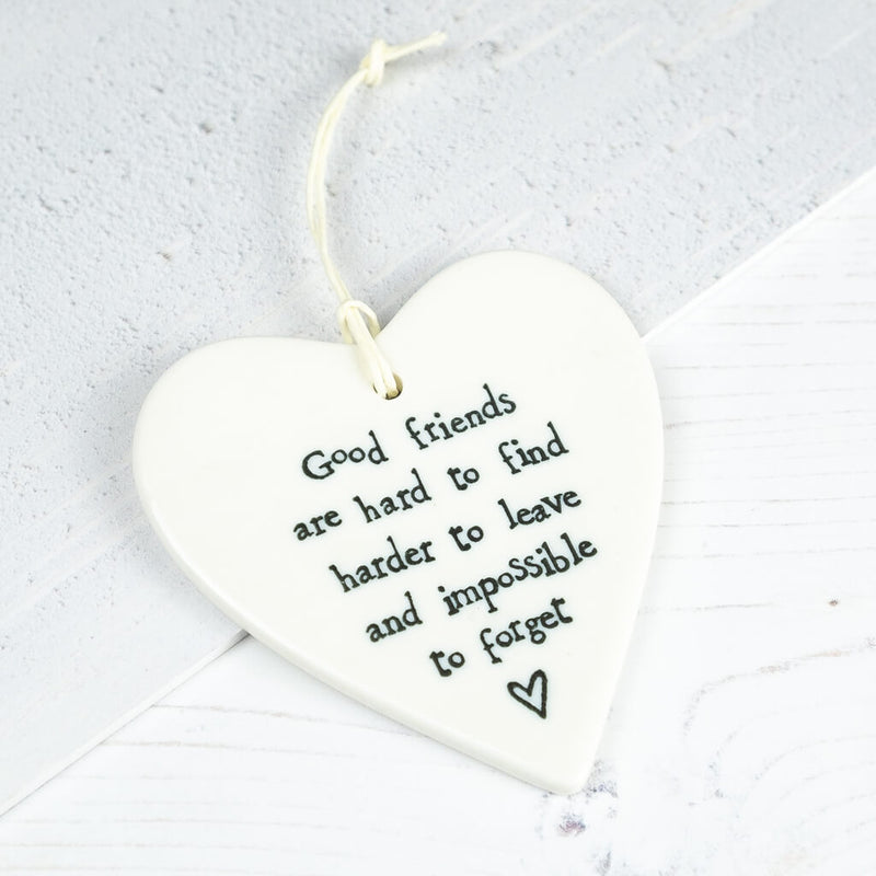 Porcelain Hanging Heart Keepsake 'Good friends' - East of India