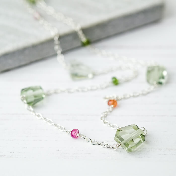 Green Amethyst & Tourmaline Tumbled Necklace - SugarMango