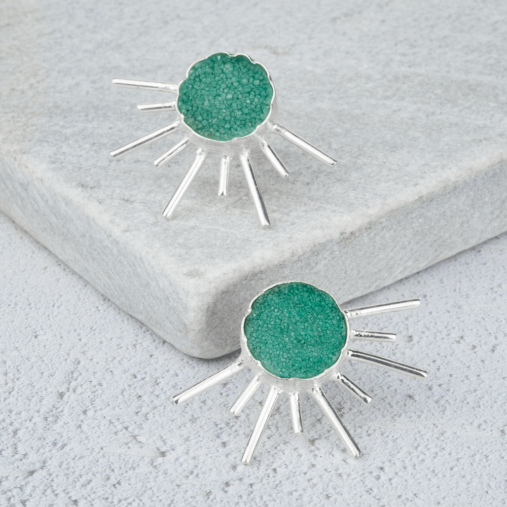 green stone statement earrings