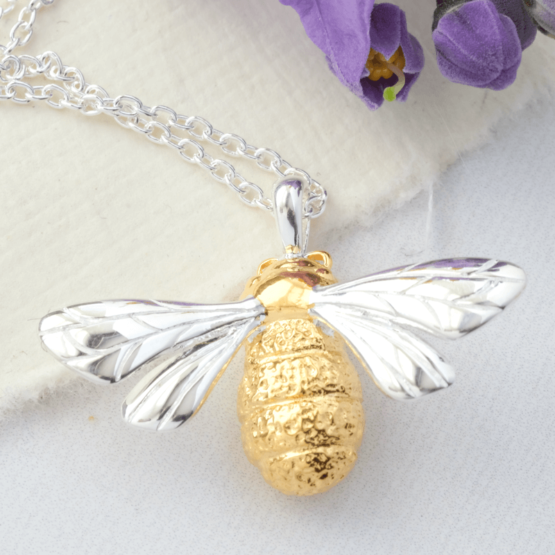 Queen Bee Necklace Silver & Gold Plated