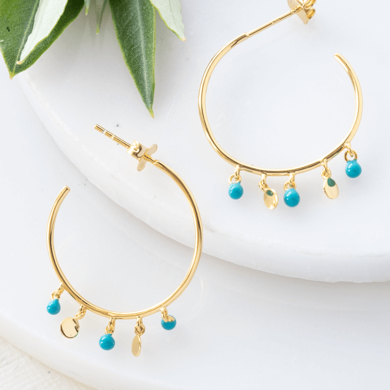 gold hoop earrings with turquoise beads