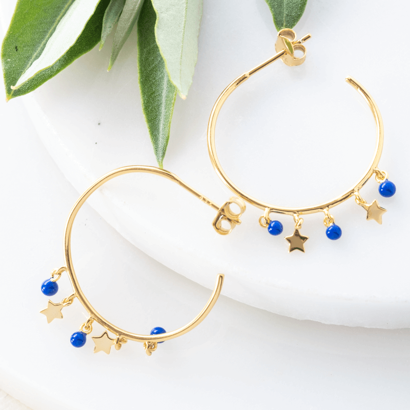 gold hoop star earrings with lapis