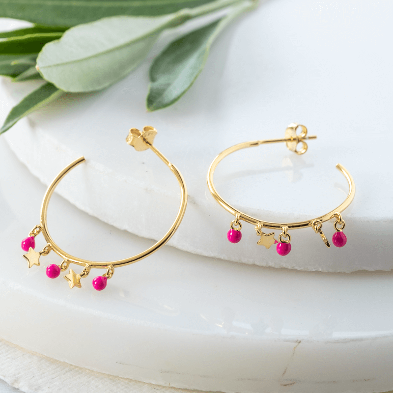 boho hoop earrings gold stars