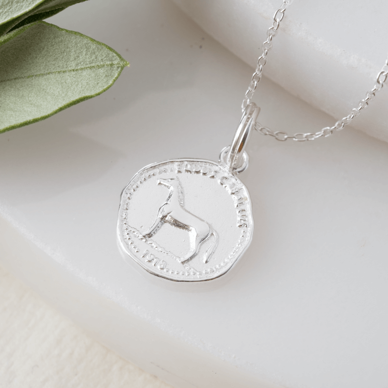 lucky horse silver coin necklace