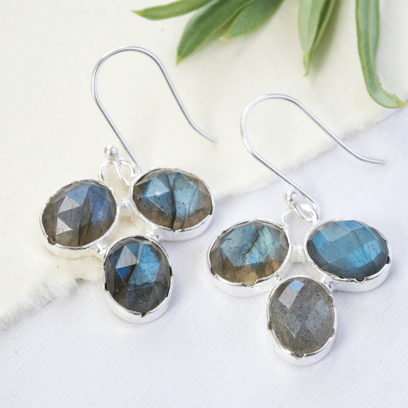 oval gemstone labradorite earrings