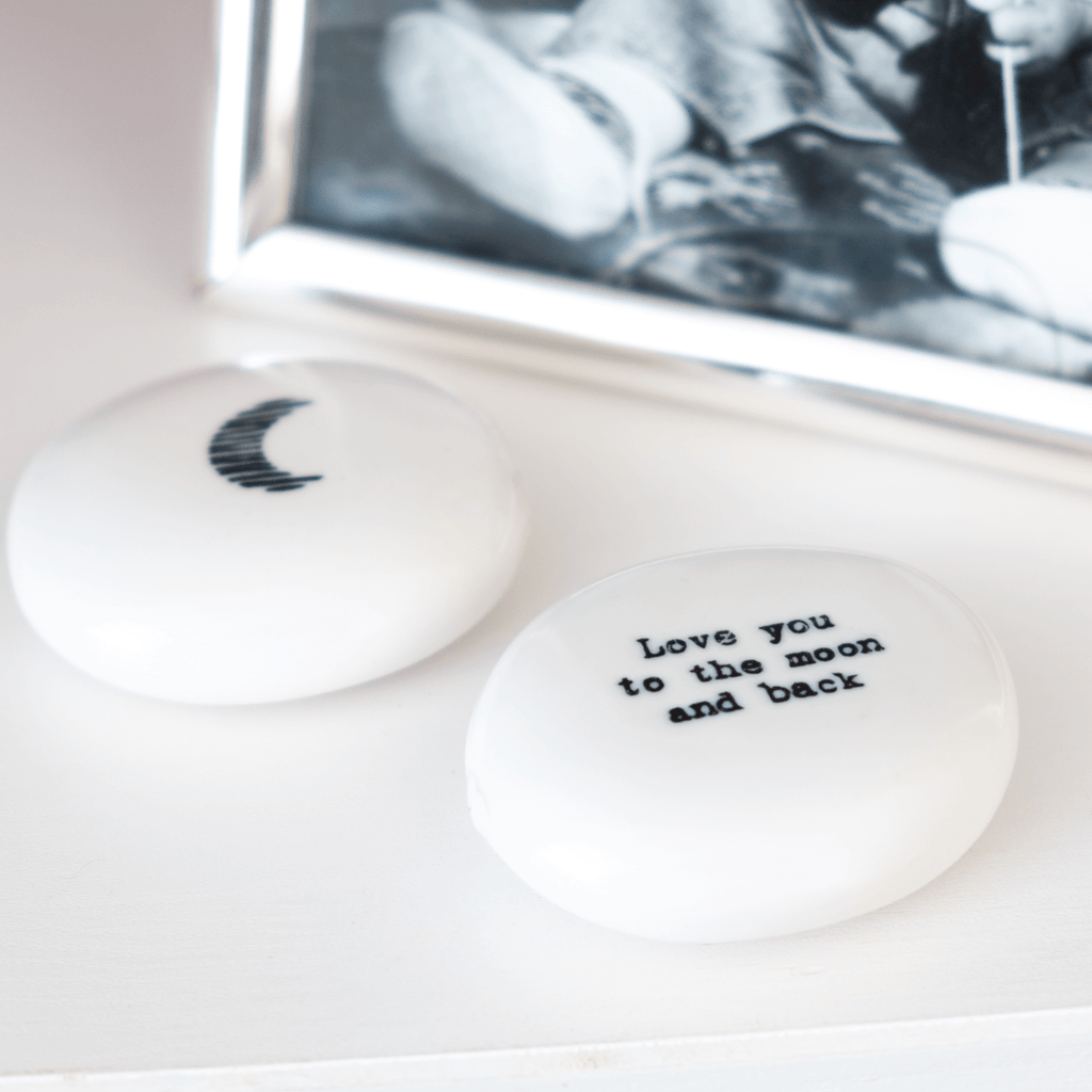 love you to the moon and back gift pebble