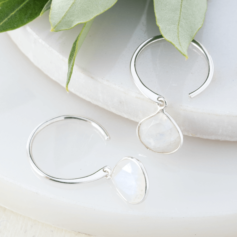 moonstone pear drop hoop earrings
