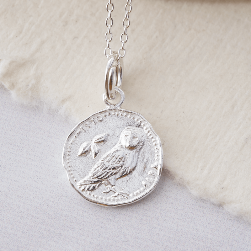 silver owl coin necklace