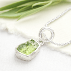 peridot raw stone necklace
