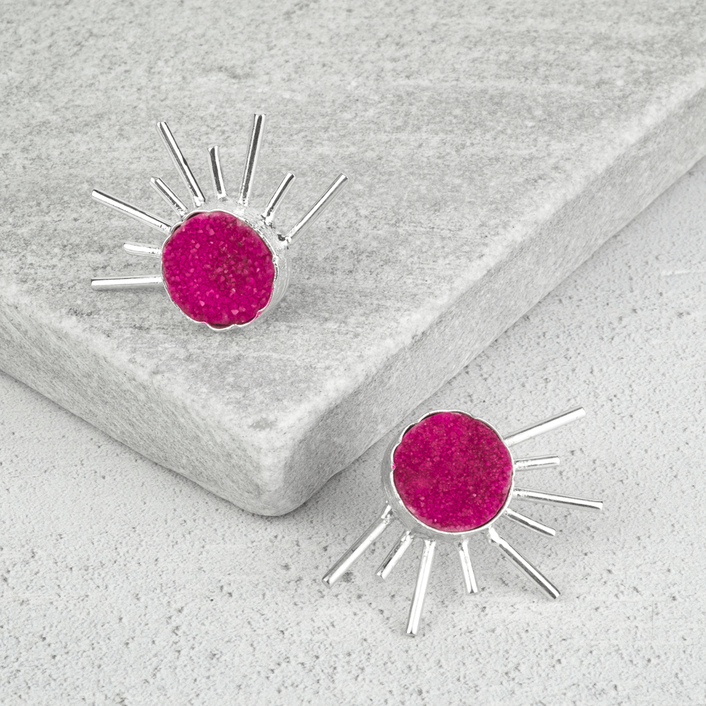 pink stone statement earrings