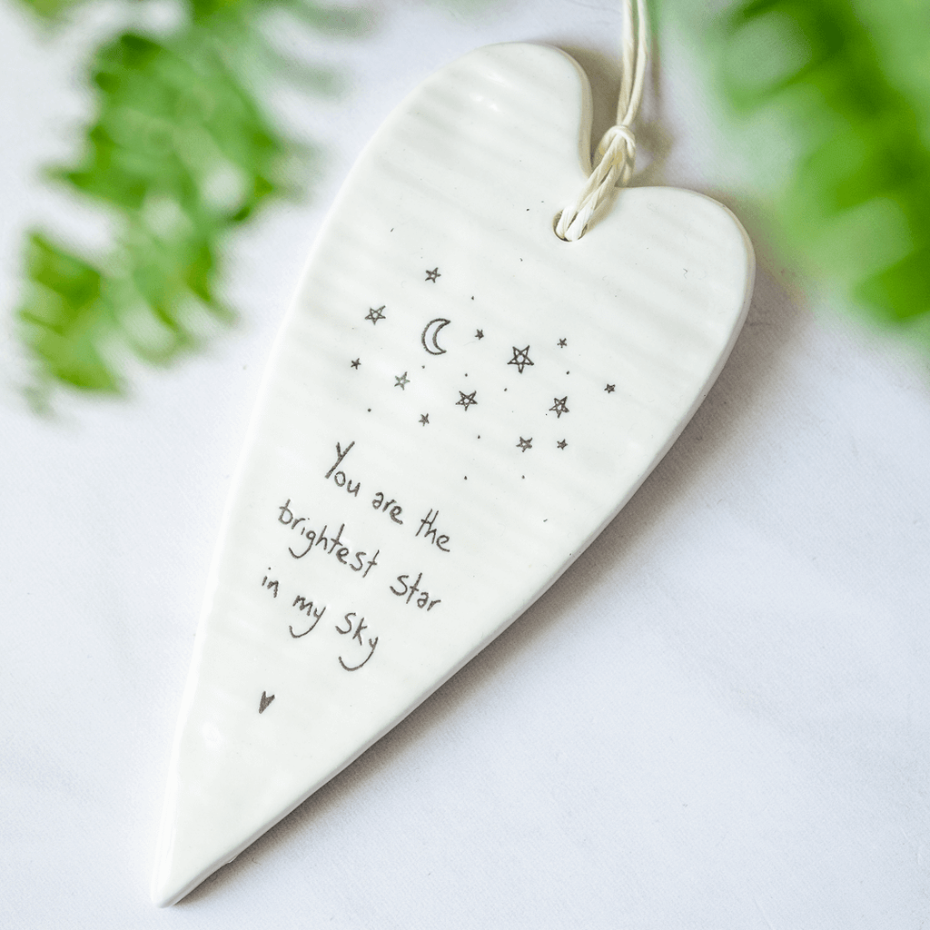 hanging heart gift bright star quote