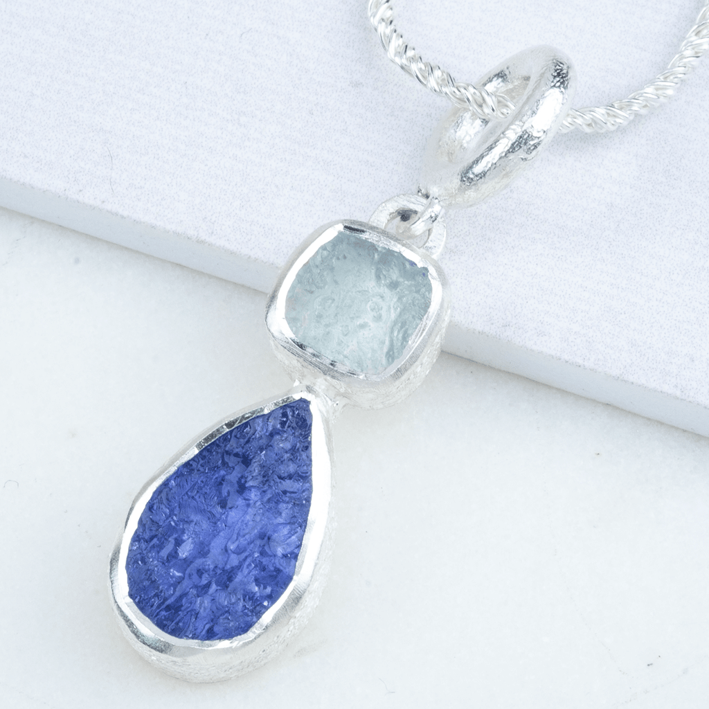 Raw Stone Tanzanite & Aquamarine silver necklace