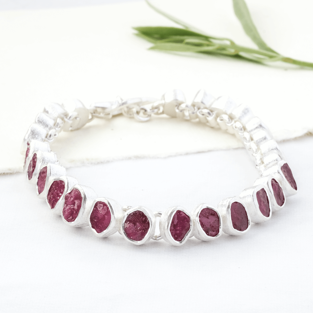 Rough Ruby Bracelet Silver