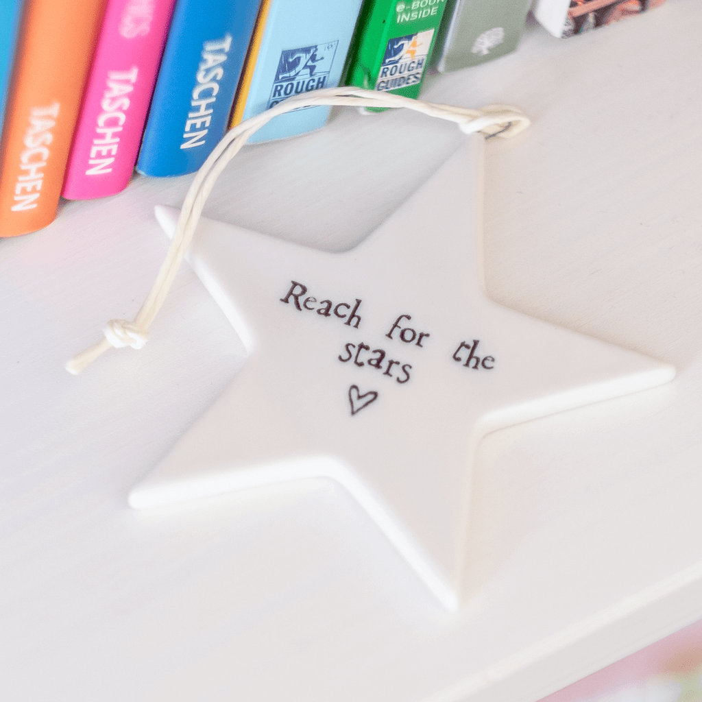 reach for the stars quote on porcelain star