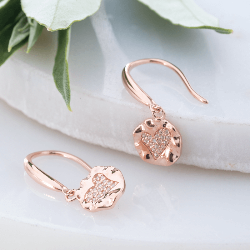 heart drop earrings rose gold and cz stones