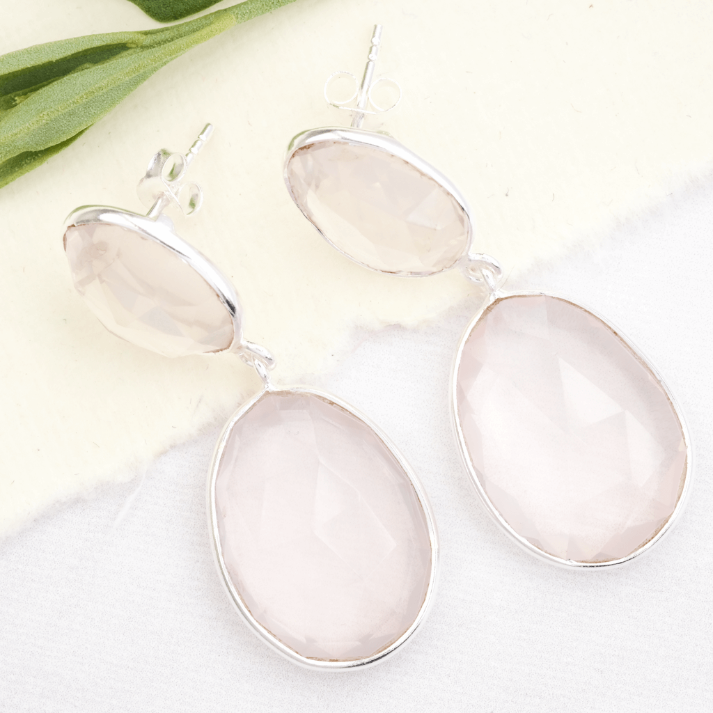 rose quartz drop earrings silver with post