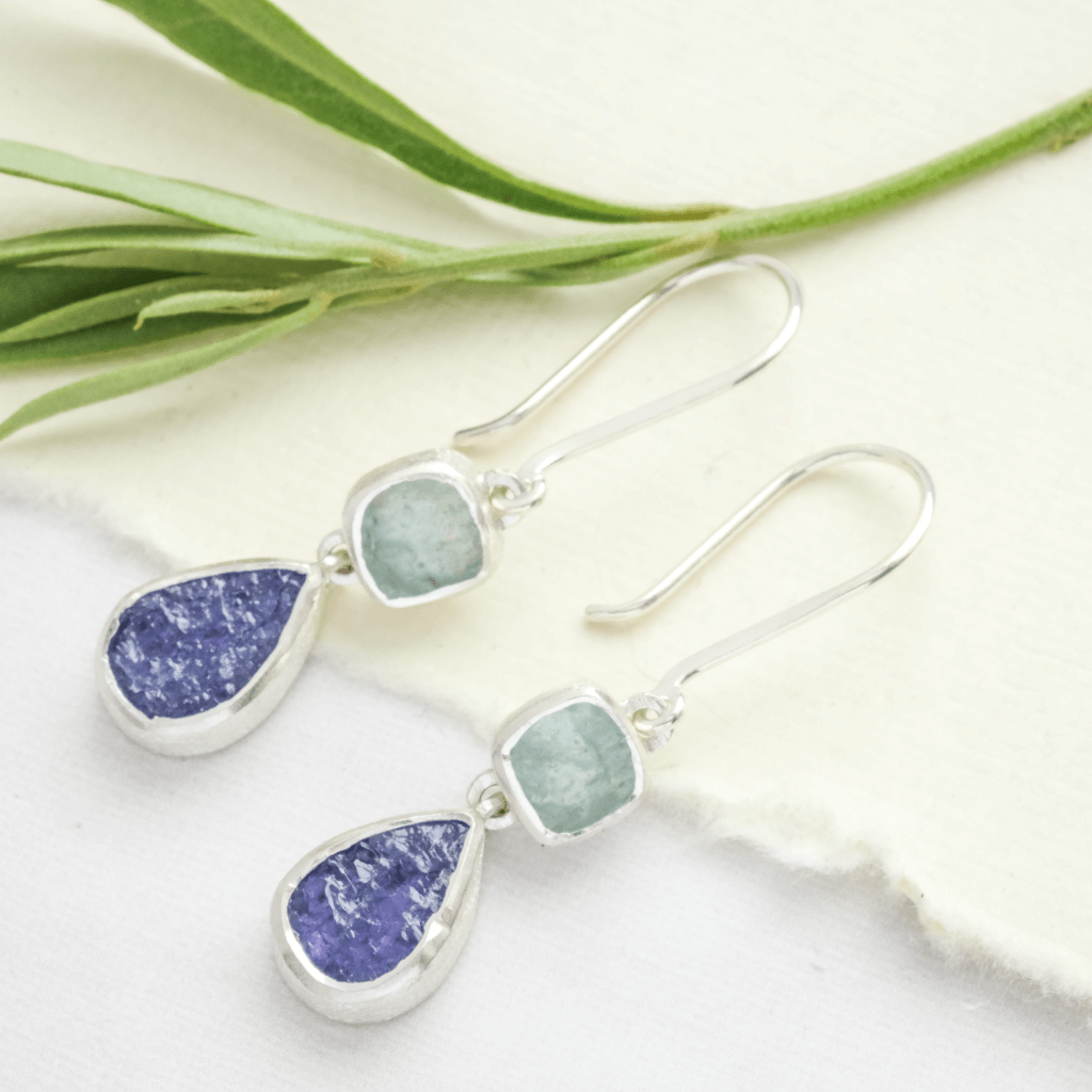 blue raw stone drop earrings silver