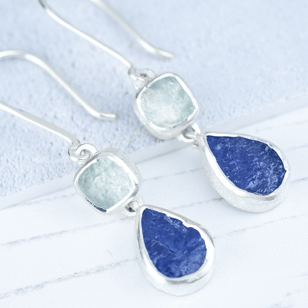 tanzanite drop earrings rough gemstone silver