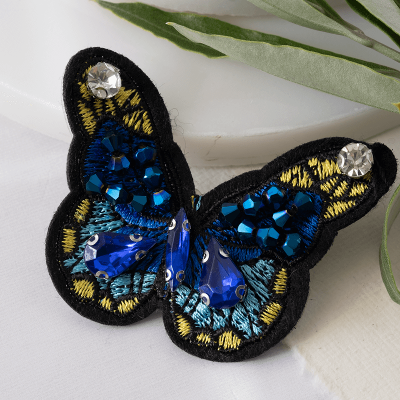 Vintage Style Sapphire Butterfly Brooch