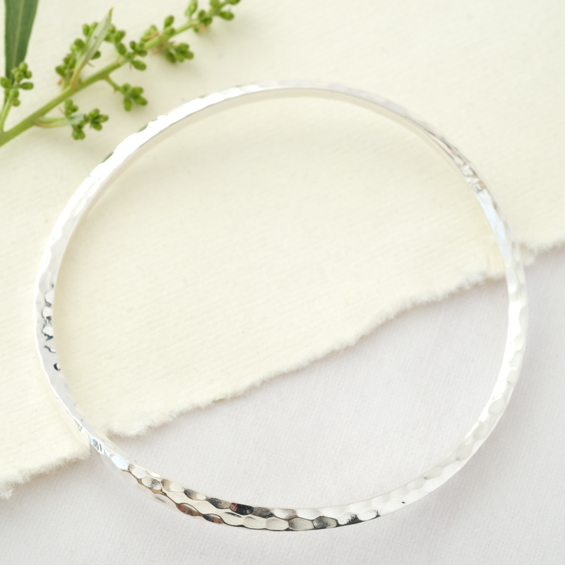 thin beaten silver bangle