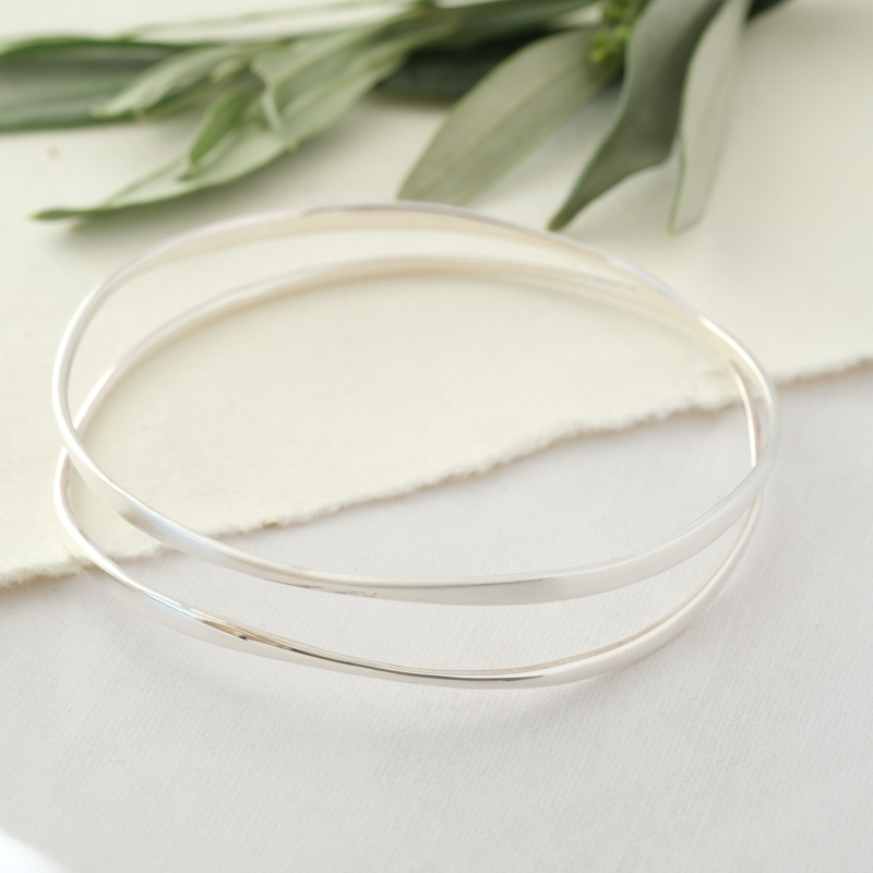 silver bangle double band