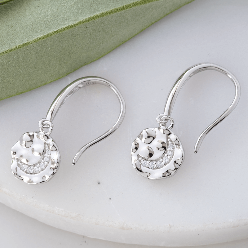 silver moon coin earrings