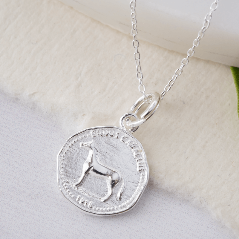 equestrian silver necklace charm