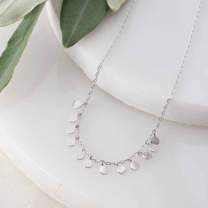 silver dot layering necklace