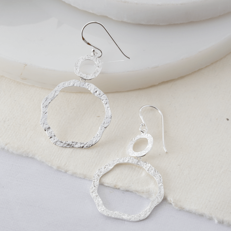 textured silver dangly earrings