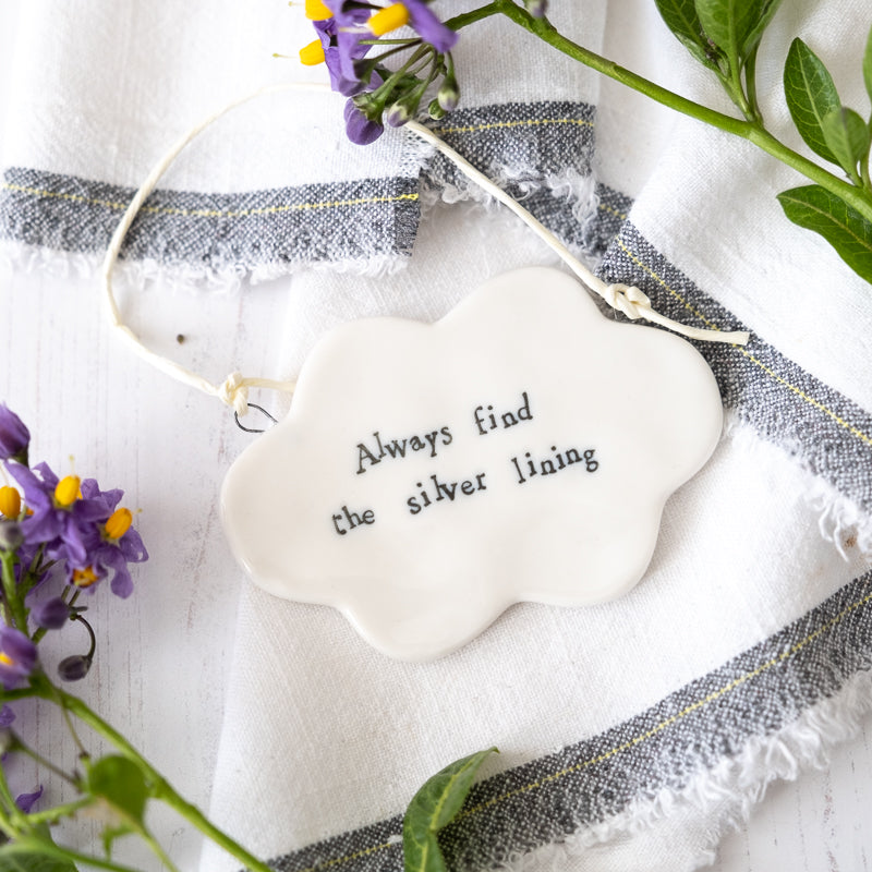 every cloud has a silver lining porcelain cloud keepsake