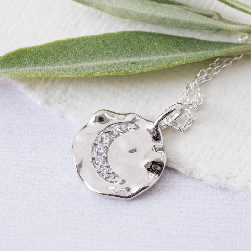 silver coin necklace with cz moon