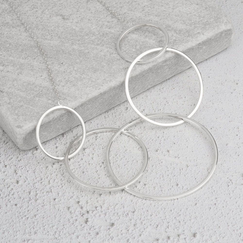 modern silver necklace circles